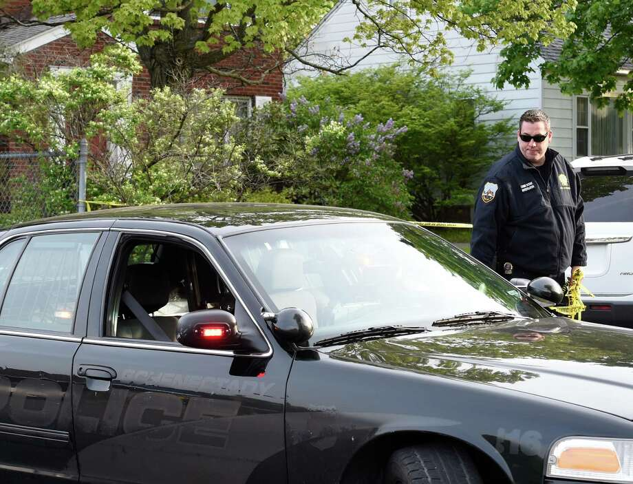 Police units shut down Shirley Drive Tuesday May 17, 2016, after an early morning triple shooting in Schenectady, N.Y.  (Skip Dickstein/Times Union) Photo: SKIP DICKSTEIN