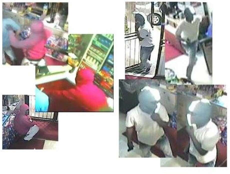 Police have released surveillance photographs of suspects in a kidnapping and robbery April 12, 2016, at a convenience store in the 1800 block of West Mount Houston.(Crime Stoppers)