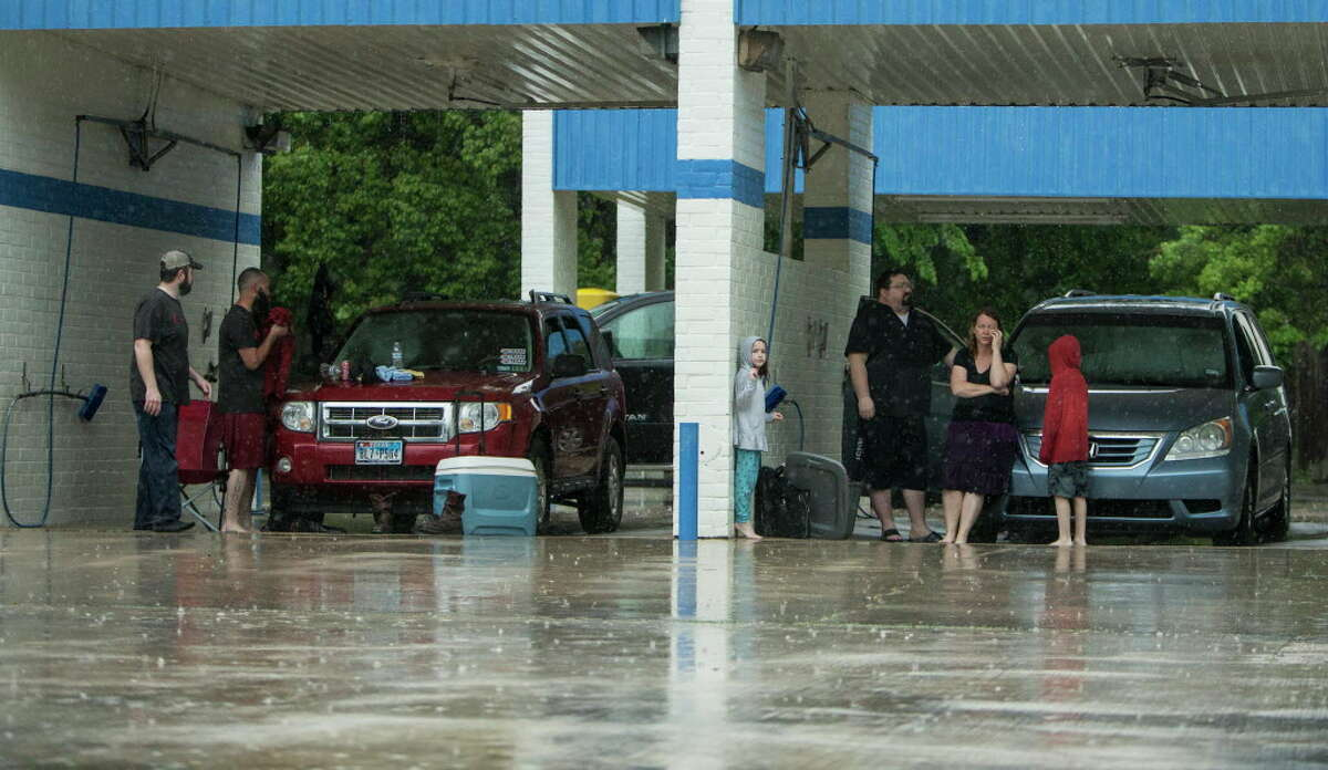 2. Take shelter in a car wash if there's no room under bridges It's not like people are going to wash their cars during torrential rain and hail, right? Might as well hide in a vacant space.
