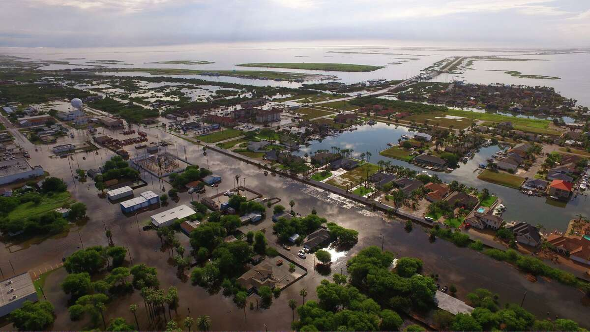 The City of Aransas Pass shared photographs on its Facebook page that show floodwaters over the hardest hit areas of the harbor city after it received more than 12 inches of rain in five hours in the early morning of May 16, 2016.