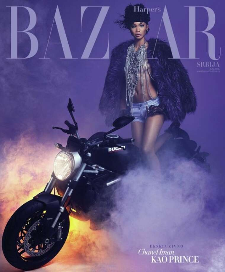 Harper's Bazaar Serbia pays tribute to Prince with its June 2016 cover featuring U.S. model Chanel Iman. Photo: Instagram