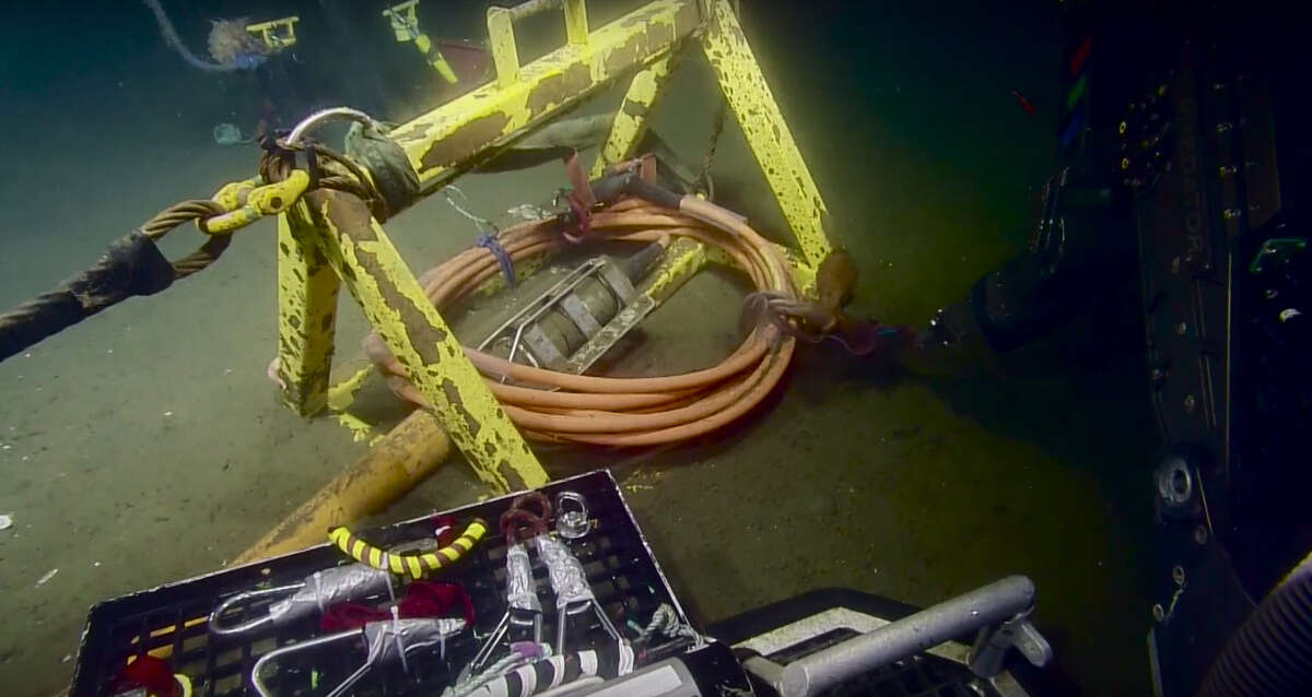 This happened Here is an example of its wiliness: An octopus plays tug of war with the robotic arm of the Exploration Vehicle Nautilus as the arm attempts to untie of piece of the research crew's gear from the Pacific Ocean floor in May 2016.