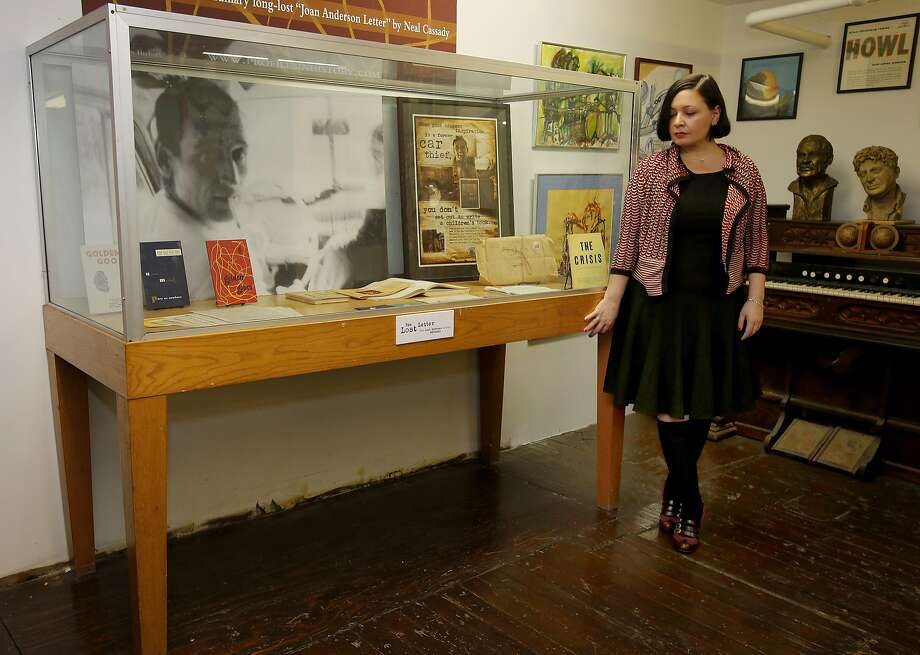 Next to Jean Spinosa in the case is a letter from Neal Cassady to Kerouac. Photo: Brant Ward, The Chronicle