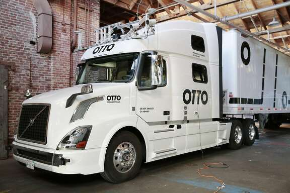 One of the company�s big rig trucks at Otto, led by 15 former Google engineers, in San Francisco, May 16, 2016. The engineers believe that automating trucks rather than passenger vehicles could be more palatable financially and to regulators. (Ramin Rahimian/The New York Times)