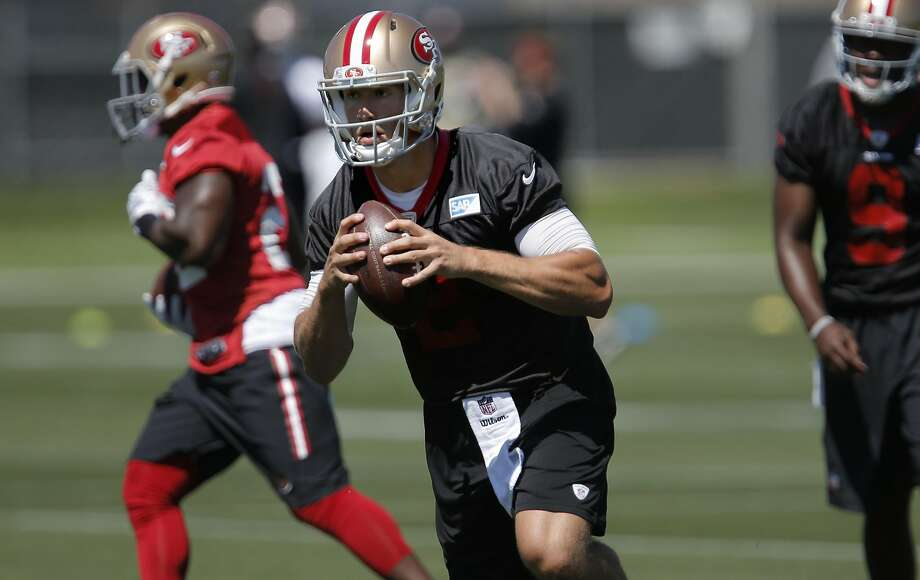 Quarterback Blaine Gabbert, 2 runs passing drills during a San Francisco 49ers mini camp workout at their practice facility in Santa Clara, California, on Tues. May 17, 2016. Photo: Michael Macor, The Chronicle