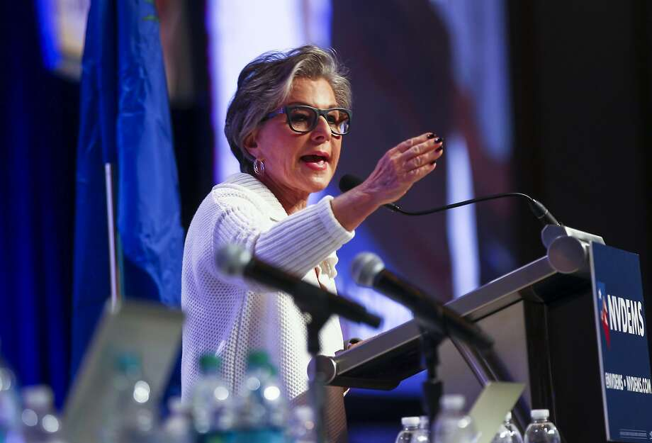 In a  Saturday, May 14, 2016 photo, U.S. Sen. Barbara Boxer, D-Calif., speaks during the Nevada State Democratic Party�s 2016 State Convention at the Paris hotel-casino in Las Vegas. The Nevada Democratic Convention turned into an unruly and unpredictable event, after tension with organizers led to some Bernie Sanders supporters throwing chairs and to security clearing the room, organizers said.  (Chase Stevens/Las Vegas Review-Journal via AP) LOCAL TELEVISION OUT; LOCAL INTERNET OUT; LAS VEGAS SUN OUT Photo: Chase Stevens, Associated Press