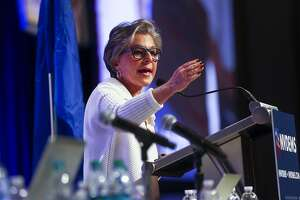 In a  Saturday, May 14, 2016 photo, U.S. Sen. Barbara Boxer, D-Calif., speaks during the Nevada State Democratic Party�s 2016 State Convention at the Paris hotel-casino in Las Vegas. The Nevada Democratic Convention turned into an unruly and unpredictable event, after tension with organizers led to some Bernie Sanders supporters throwing chairs and to security clearing the room, organizers said.  (Chase Stevens/Las Vegas Review-Journal via AP) LOCAL TELEVISION OUT; LOCAL INTERNET OUT; LAS VEGAS SUN OUT