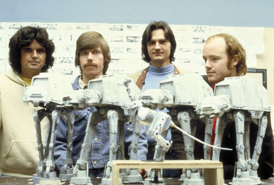 Tom St. Amand, Doug Beswick, Jon Berg and Phil Tippett with a snow-walker puppet, back in the day. Photo: Courtesy Lucasfilm