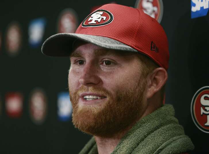 Fullback Bruce Miller, talks with the media following a San Francisco 49ers mini camp workout at their practice facility in Santa Clara, California, on Tues. May 17, 2016.