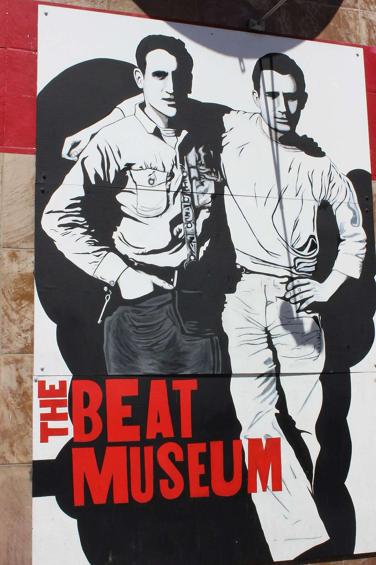 FILE - This Aug. 30, 2014 photo by Beat Museum founder and curator Jerry Cimino of a mural from a 1952 photograph adorning the exterior of the museum in San Francisco, shows Beat Generation writer Jack Kerouac, right, and his friend and fellow Beat author Neal Cassady. A letter written by Cassady inspired Kerouac's own writing. The letter, Kerouac said shortly before his death, would have transformed his counterculture muse Cassady into a towering literary figure, if only it hadn't been lost. As it turns out, the letter wasn't lost, just misplaced, and it's scheduled to go on sale Dec. 17, 2014. (AP Photo/The Beat Museum, Jerry Cimino, File)