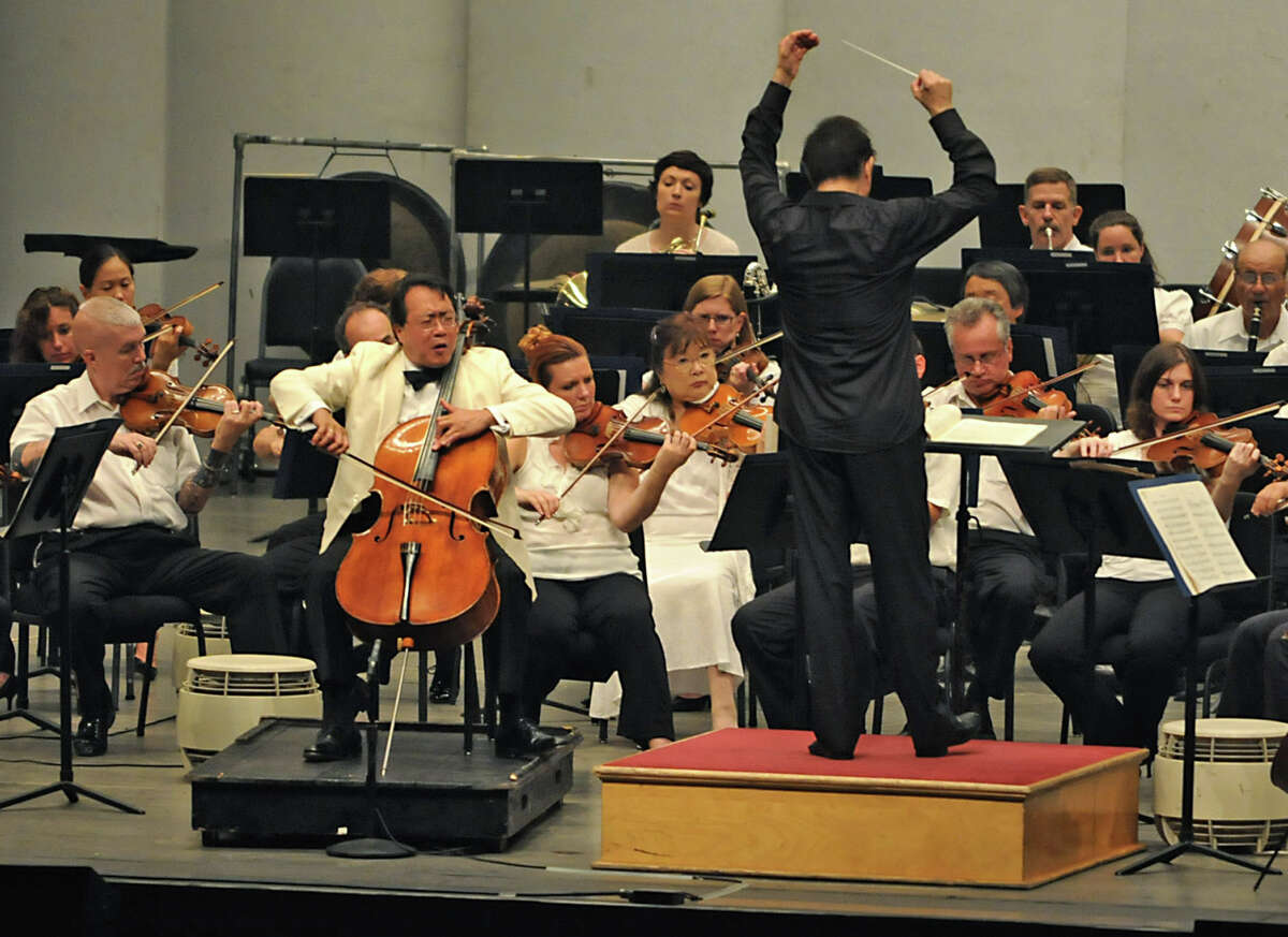 Yo-Yo Ma plays the cello with the Philadelphia Orchestra conducted by Charles Dutoit at the Saratoga Performing Arts Center in Saratoga Springs, NY on August 4, 2010. (Lori Van Buren / Times Union)