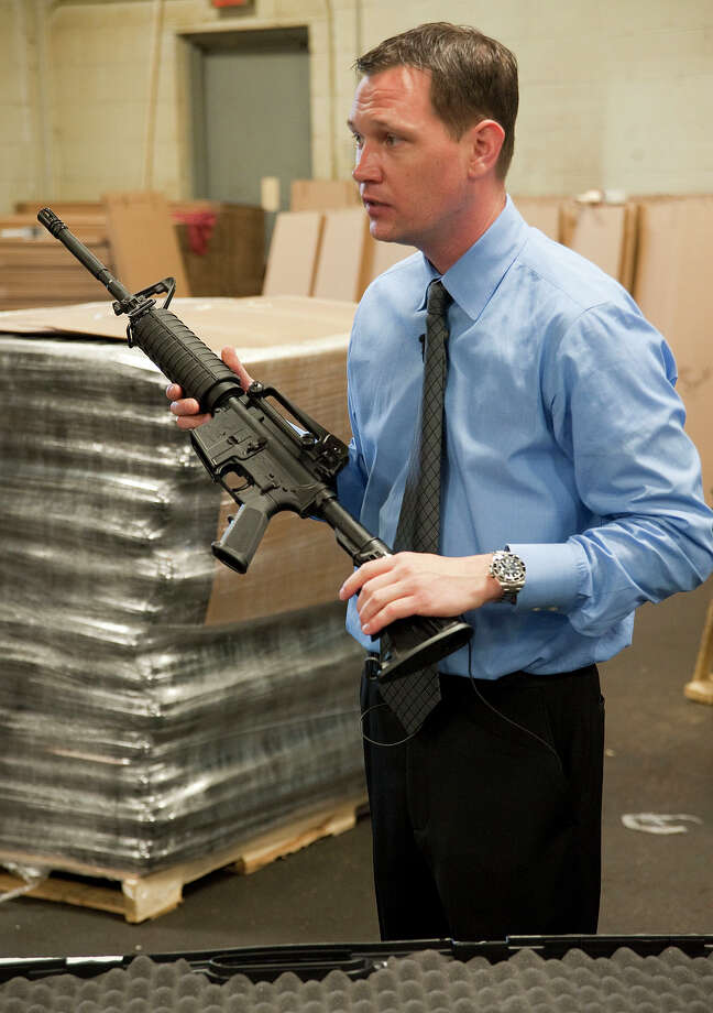 Mark Malkowski, owner of Stag Arms in New Britain, Conn., talks about his company's newly designed Stag-22 in 2013. Photo: Jim Shannon / The Republican-American Via AP / The Republican-American