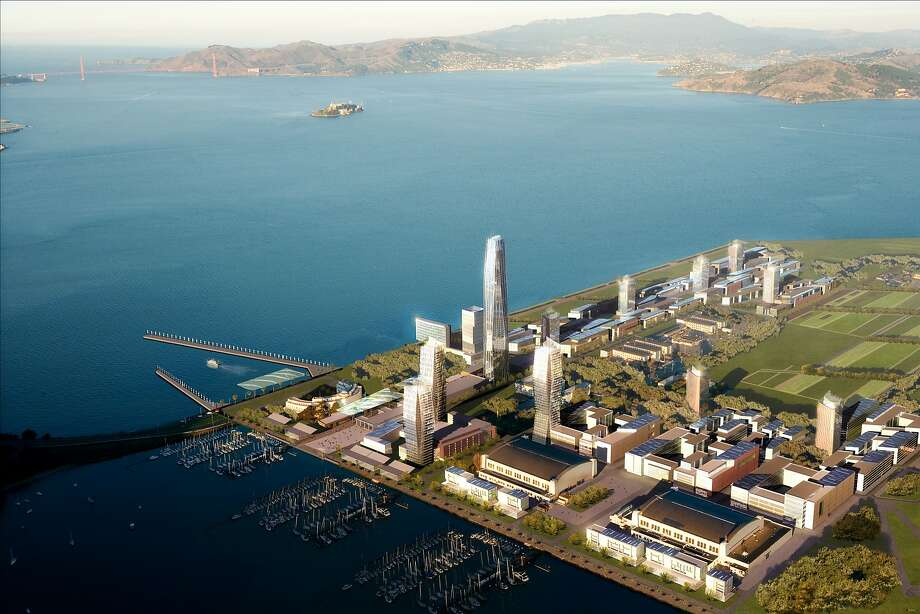 Rendering of planned new development for Treasure Island, featuring highrise hotels, condos and commercial space. And now, perhaps, a new George Lucas museum on the western edge facing San Francisco. Photo: Dbox Inc., Courtesy Lennar Corp./Wilson Meany