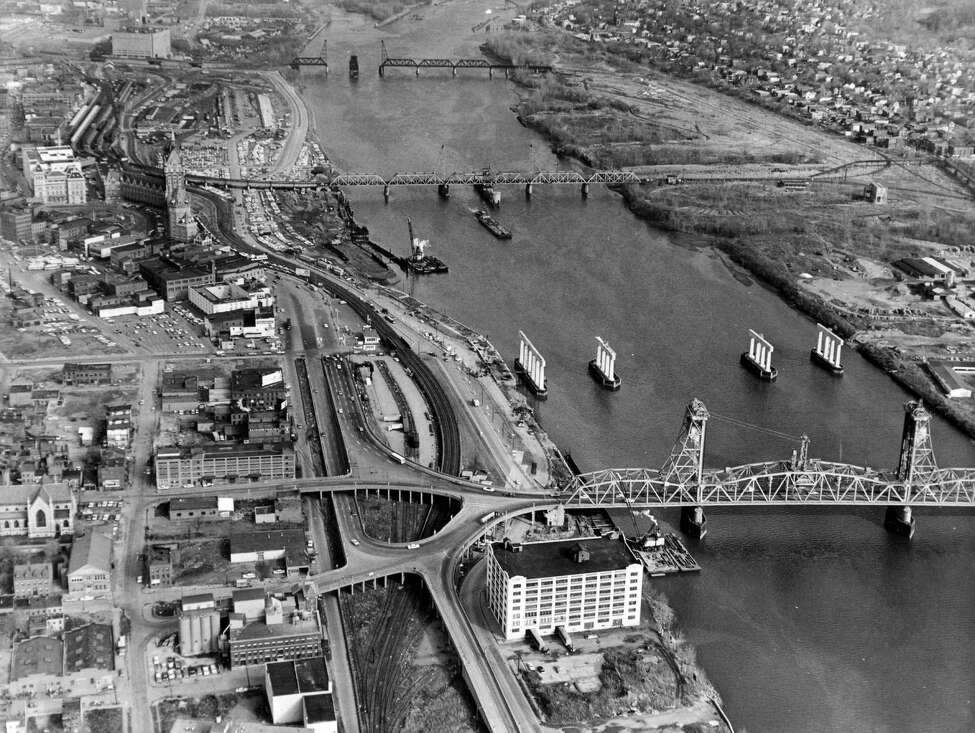 Aerial view of Albany riverfront and Dunn Memorial Bridge construction, 1960s, Albany, N.Y. (Times Union archive)