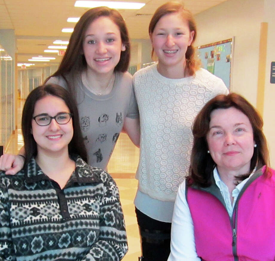 Staples High School students Claire Dinshaw, Emily Schussheim and Phoebe Spear will represent Staples High School at the Hwa Chong Asian Pacific Young Leaders Summit in Singapore in July, accompanied by teacher Dana Gilland. Photo: Contributed Photo / Westport News