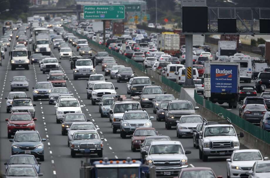Traffic slows to a crawl in both directions of Interstate 80 near University Avenue during the afternoon commute in Berkeley, Calif. on Wednesday, May 4, 2016. A number of transportation tax proposals may wind up on the November general election ballot. Photo: Paul Chinn, The Chronicle