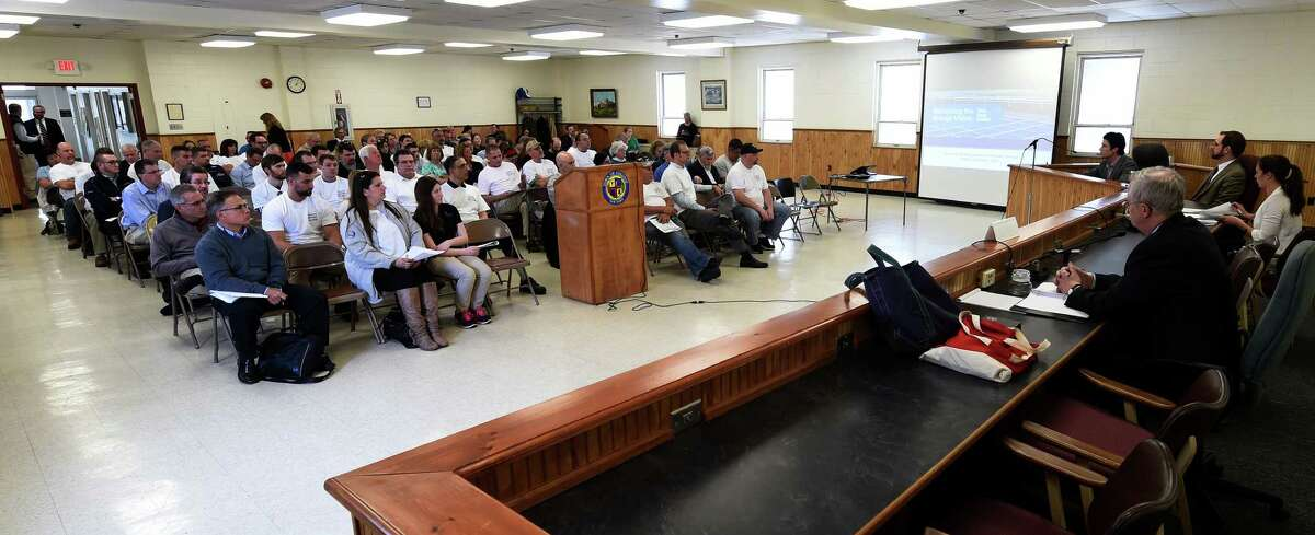The New York State Department of Public Service hosted a public hearing on the Governor's Clean Energy Standard Tuesday May 17, 2016, at the Town Hall in Colonie, N.Y. (Skip Dickstein/Times Union)