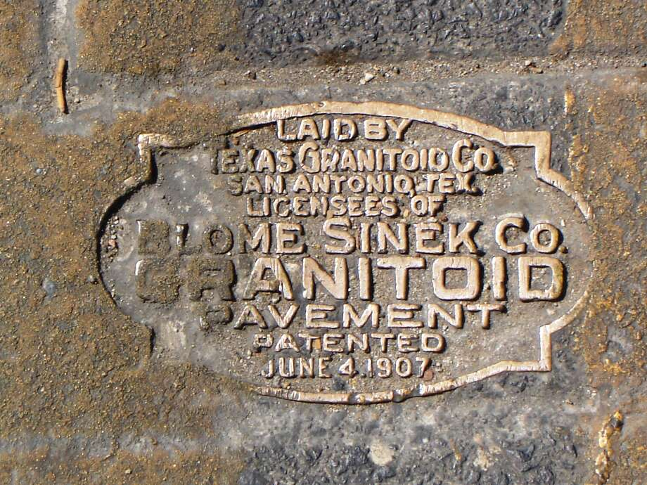 "An inlaid marker showing the ""Granitoid"" construction, placed in 1914. Photo: Courtesy Jan Prusinski"