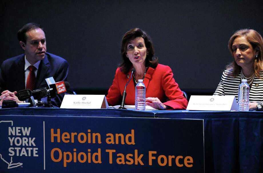 NYS Lieutenant Governor Kathy Hochul, center, opens the discussion during Governor's Task Force on Heroin and Opioid Addiction Listening Tour at the Proctor's GE Theater on Tuesday May 17, 2016 in Schenectady, N.Y. NYS Health Commissioner Dr. Howard Zucker, left, and NYS OASAS Commissioner Arlene Gonzales-Sanchez, right,. (Michael P. Farrell/Times Union) Photo: Michael P. Farrell / 40036633A
