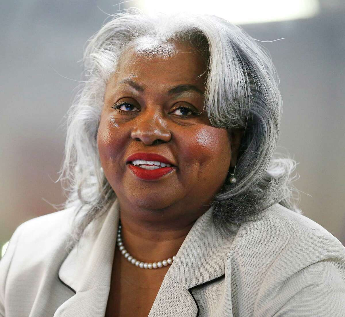 Candidate Barbara Gervin-Hawkins is vying for Ruth Jones McClendon's Texas House District 120 seat against five other candidates. The group gathered for a town hall meeting at Second Baptist Church on Wednesday, Feb. 3, 2016. The other candidates are: Mario Salas, Byron Miller, Lou Miller, Art Hall and LaTronda Darnell. Voters will decide on March 1 who will replace McClendon, who served for 19 years in the Texas House, as she announced her decision not to run for re-election after battling health issues including lung cancer. (Kin Man Hui/San Antonio Express-News)