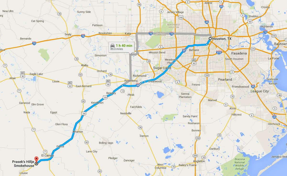 Travel from Houston to Prasek's Hillje Smokehouse at 29714 US-59, El Campo, TX 77437.