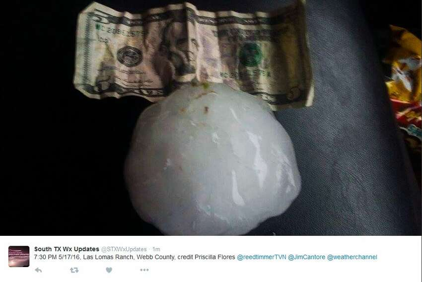 3.5 inches: The size of a hail stone from the April 12, 2016 storm found south of Helotes, which is about the size of a grapefruit.