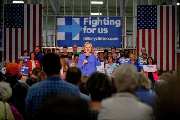 FILE - In this May 15, 2016 file photo, Democratic presidential candidate Hillary Clinton speaks at a campaign stop in Louisville, Ky. Democratic presidential front-runner Hillary Clinton sought to avoid primary losses in Kentucky and Oregon on Tuesday, aiming to blunt the momentum of challenger Bernie Sanders ahead of a likely general election matchup against Republican Donald Trump.  (AP Photo/Andrew Harnik, File)