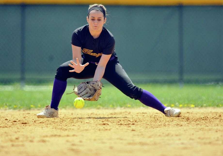 Allison Discanio of Troy fields a ground ball during their game against Shaker on Wednesday, April 27, 2016, in Troy, N.Y.  (Paul Buckowski / Times Union) Photo: PAUL BUCKOWSKI / 10036372A