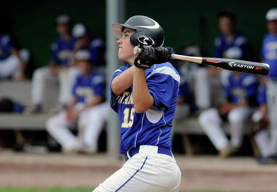 Queensbury's Vincent Valenti (19) gets a hit against Shenendehowa during a boy's high school baseball game in Clifton Park, N.Y., Saturday, May 14, 2016. (Hans Pennink / Special to the Times Union) ORG XMIT: HP120 Photo: Hans Pennink / Hans Pennink