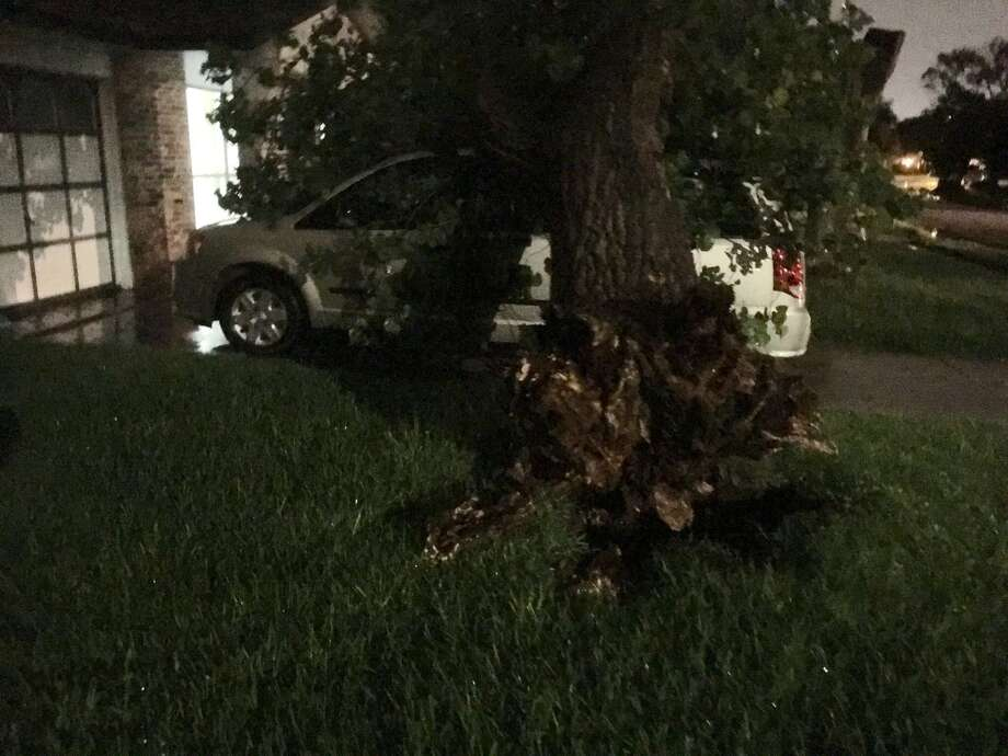 A severe thunderstorm slammed the San Antonio area late Tuesday night, causing flash flood and damage to some roads and residential areas. Photo: Courtesy Of Kenny Dickhute