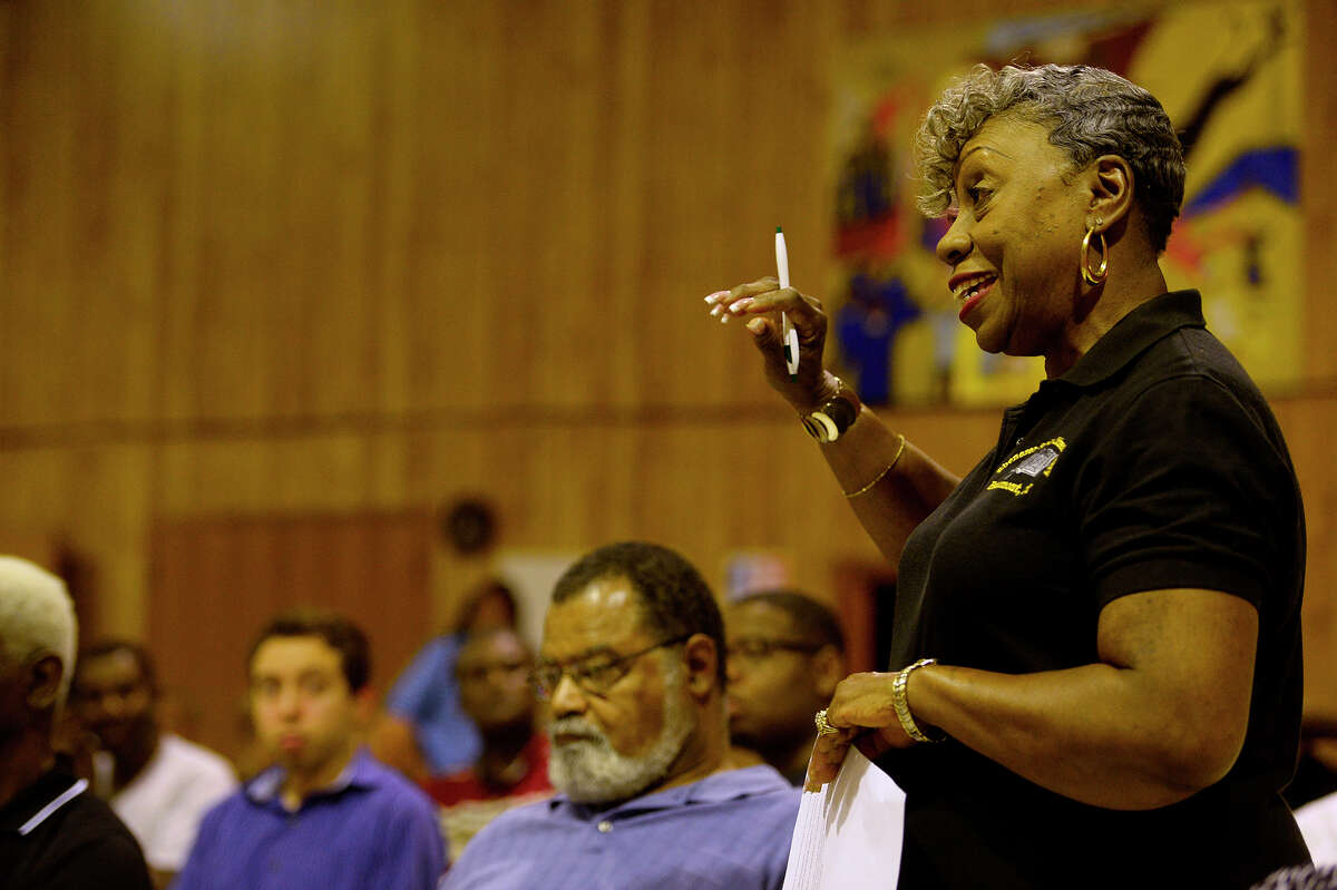 Hazel Patterson, with the Experience Corps tutoring program, speaks during an NAACP meeting Tuesday evening about mentoring the youth. Photo taken Tuesday 5/17/16 Ryan Pelham/The Enterprise