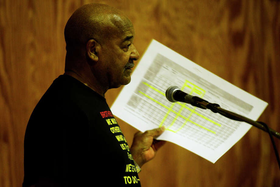 Paul Jones, president of the Beaumont NAACP, talks about the city's demographics during an NAACP meeting Tuesday evening about mentoring the youth. Photo taken Tuesday 5/17/16 Ryan Pelham/The Enterprise Photo: Ryan Pelham / ©2016 The Beaumont Enterprise/Ryan Pelham