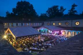 Overhead view of the Spanish Courtyard during a show at Caramoor in Katonah New York on July 25, 2014. (photo by Gabe Palacio)