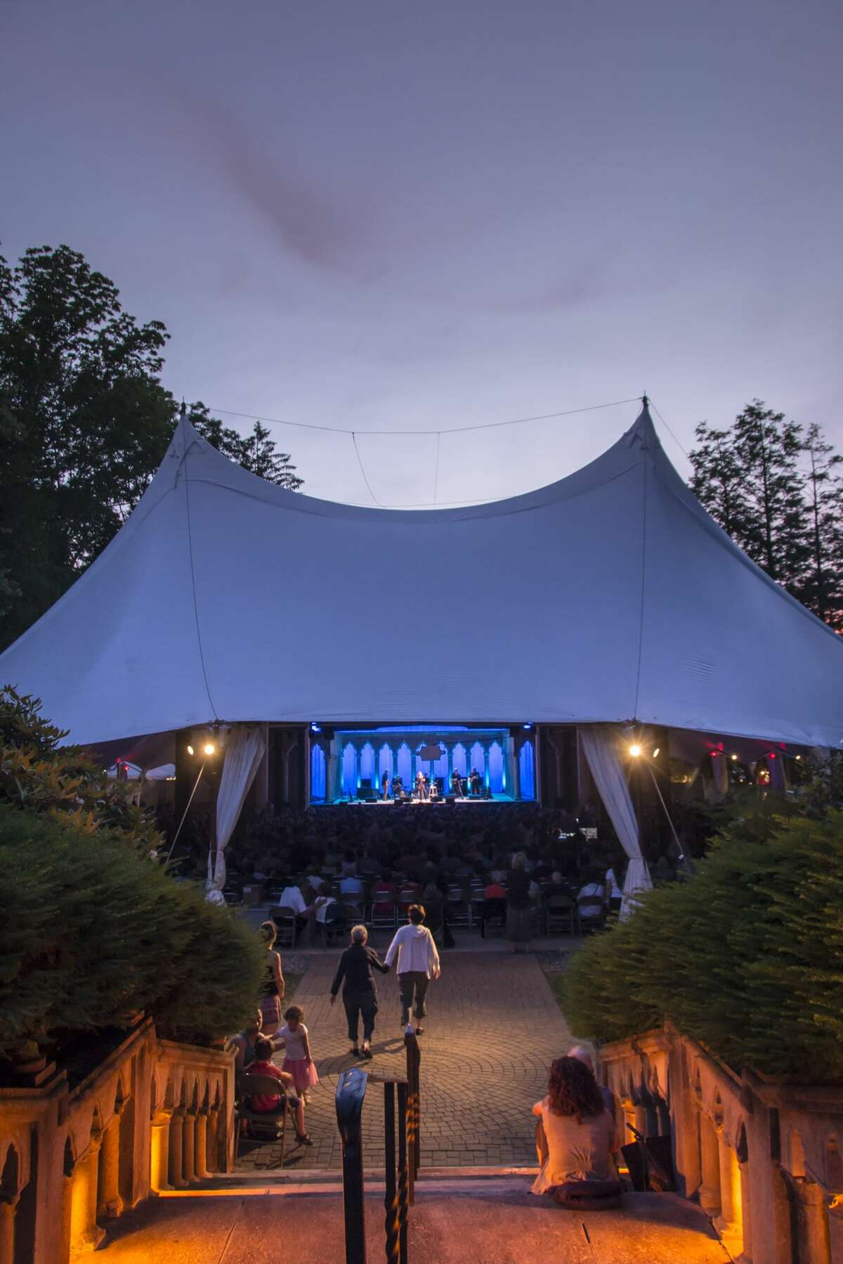 Dusk out site the Venetian Theater at Caramoor at Rosanne Cash takes the stage in Katonah New York on June 28, 2014. (photo by Gabe Palacio)