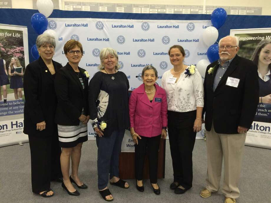 Keynote speaker Dr. Donna Lopiano helped to honor Hall of Fame inductees, Mary Ellen Curran and Elizabeth Higgins Gladfelter, along with Lauralton Hall President Toni Iadarola, and inductees Theresa Napolitano and Tom McDonald at a ceremony on May 12th at Lauralton Hall in Milford.