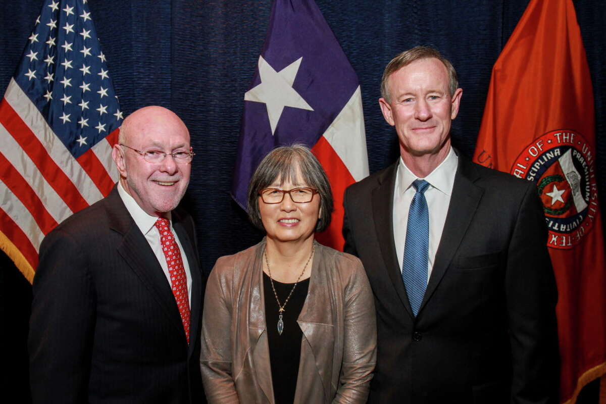 Dr. David Poplack and June Poplack, from left, with Chancellor William H. McRaven at the Texas Children's Cancer Center's