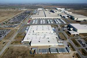 The Toyota Motor Manufacturing, Texas, Inc. plant in south Bexar County is seen in this Jan. 18, 2013 aerial photo. Production of the full-sized Tundra pickup truck at the plant will be cut back due to a global shortage in semiconductor chips.