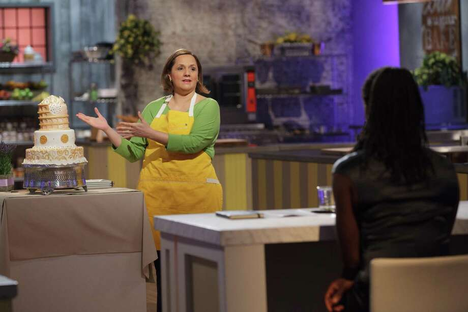 "Susana Mijares presents her Italy-themed wedding cake during the finale of the ""Spring Baking Championship"" on Food Network in 2016. Photo: Emile Wamsteker /Courtesy Food Network / © 2015, Television Food Network, G.P. All Rights Reserved"