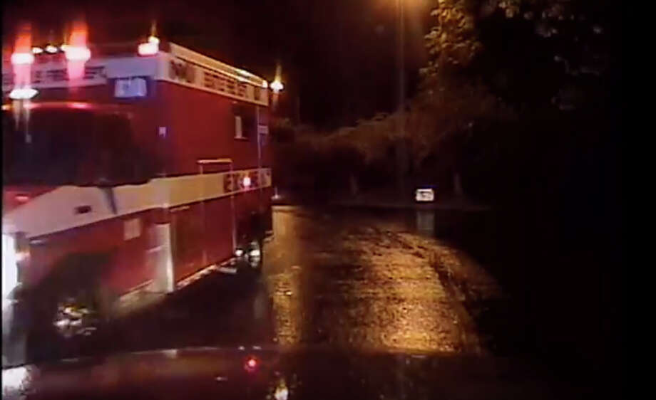 This still was taken from a Seattle Police Department video of a Saturday chase involving a stolen fire department ambulance Photo: Seattle Police Department