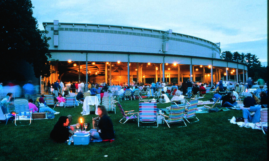 Tanglewood at dusk is a magical setting for a summer's eve concert. Photo: Tanglewood/Contributed