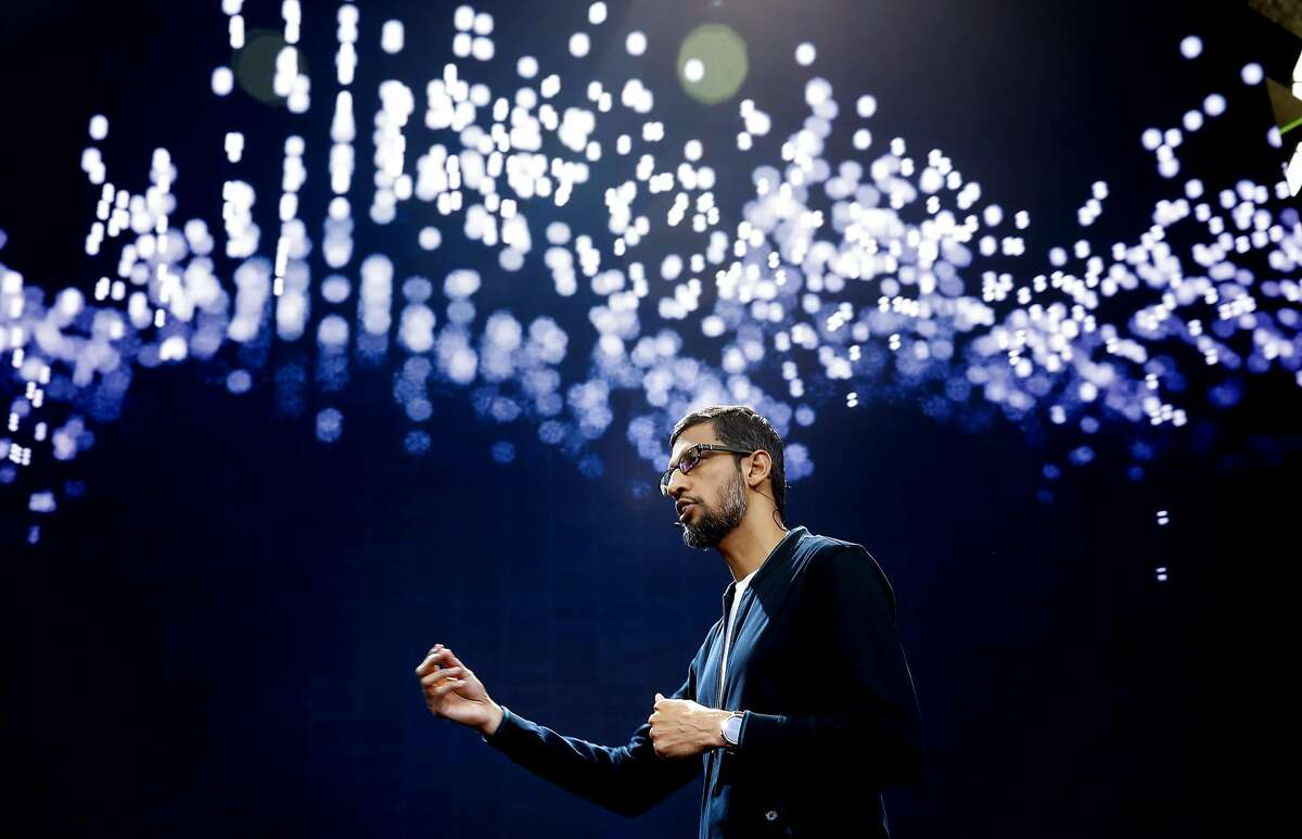 Google CEO Sundar Pichai delivers the keynote address to kick off the 2016 Google I/O conference at the Shoreline Amphitheater in Mountain View, California, on Wed. May 18, 2016.