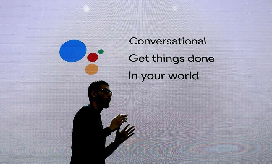 Google CEO Sundar Pichai delivers the keynote address to kick off the 2016 Google I/O conference  at the Shoreline Amphitheater in Mountain View, California, on Wed. May 18, 2016. Photo: Michael Macor, The Chronicle