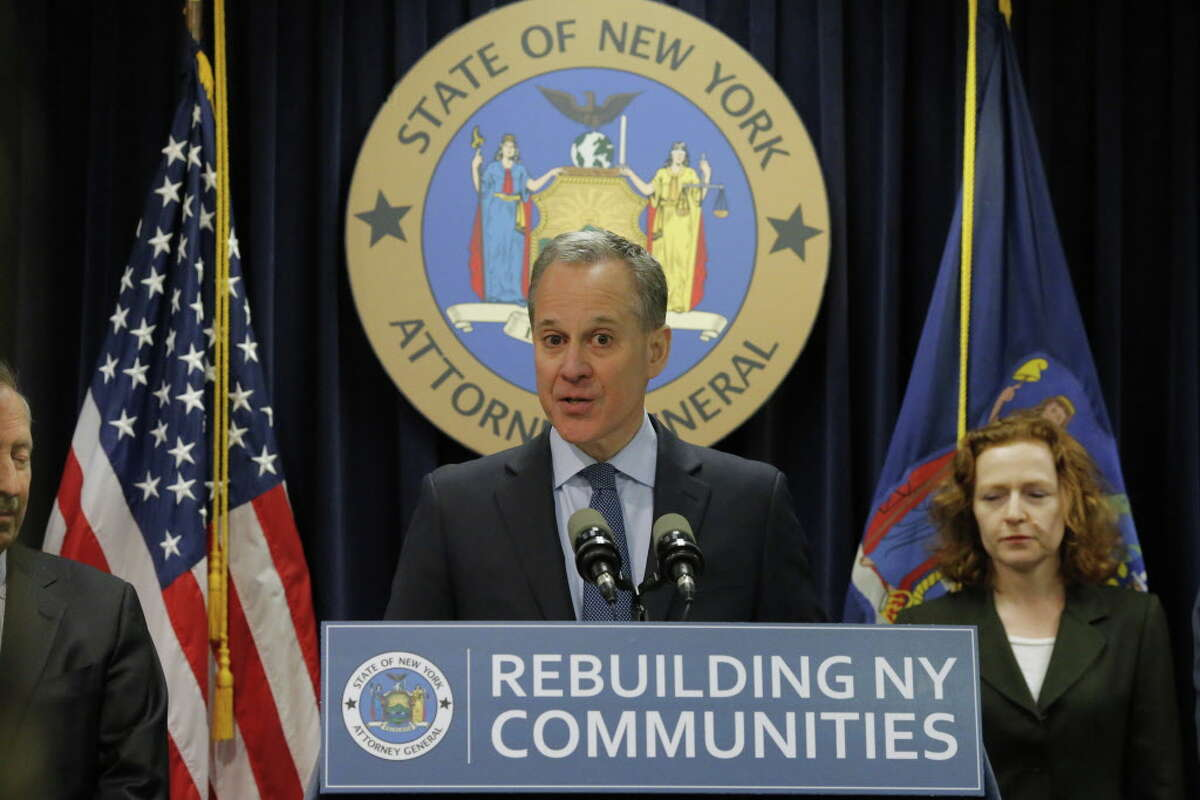 NEW YORK, NY - FEBRUARY 11: New York Attorney General Eric Schneiderman speaks at a news conference where he announced enforcement action against Morgan Stanley on February 11, 2016 in New York City. New York Attorney Schneiderman announced Morgan Stanley will pay a $3.2 billion settlement over the bank's practices leading up to the financial crisis. (Photo by Eduardo Munoz Alvarez/Getty Images) ORG XMIT: 604567561