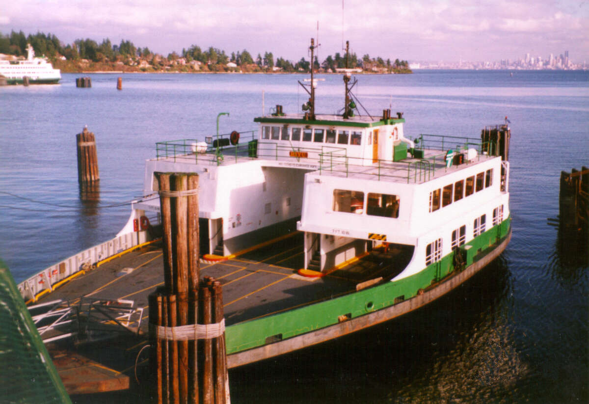 The M/V Hiyu, shown here at what appears to be the Bainbridge Island dock, has ferried people and cars around Puget Sound for 49 years, but has been retired and will go up for sale later this year.