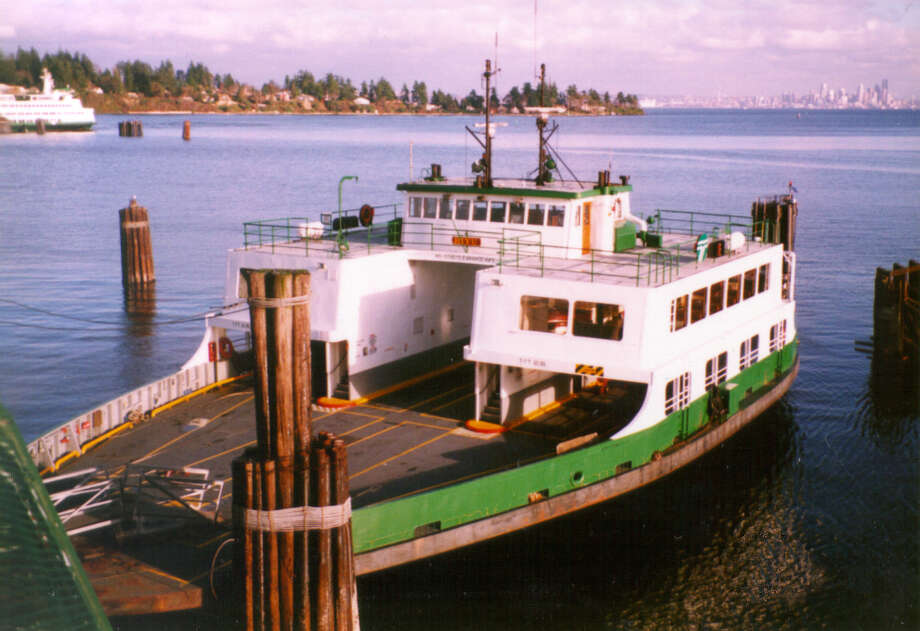 The M/V Hiyu, shown here at what appears to be the Bainbridge Island dock, has ferried people and cars around Puget Sound for 49 years, but has been retired and will go up for sale later this year. Photo: Courtesy Washington State Ferries