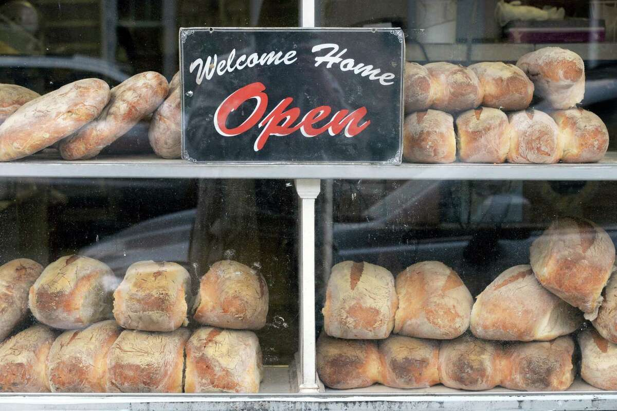 Freshly baked Italian bread in the Perreca's bakery window in North Jay Street's Little Italy neighborhood Friday May 13, 2016 in Schenectady, NY. (John Carl D'Annibale / Times Union)