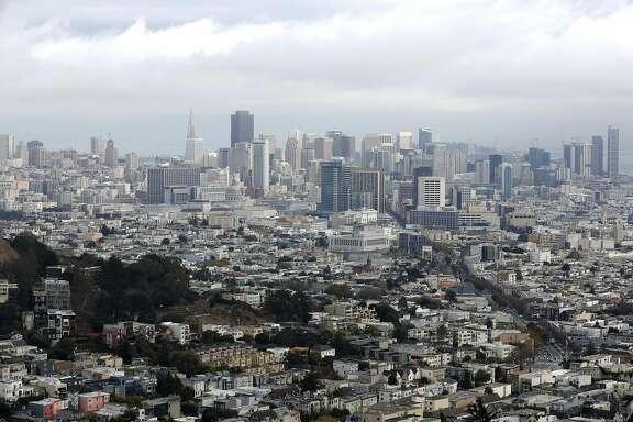 The San Francisco, California, skyline on a drizzly Sunday, Nov. 8, 2015.