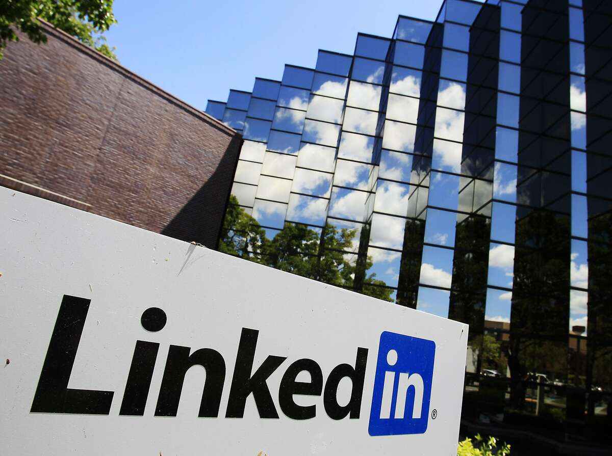 LinkedIn Corp., the professional networking Web site, displays its logo outside of headquarters in Mountain View.