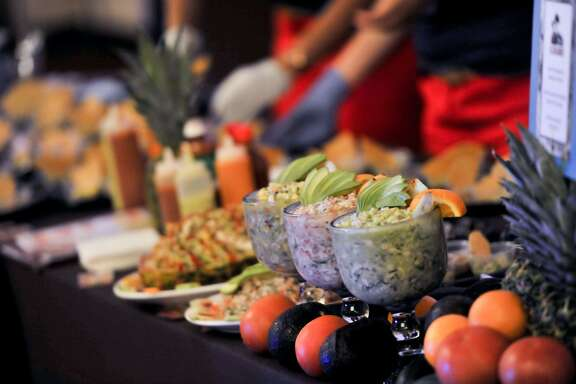 Various ceviches were on the Mariscos El Bucanero table at the Express-News Top 100 Dining and Drinks event at the La Cantera Resort & Spa.