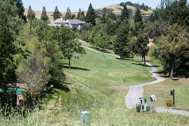 A golf course with very green landscaping in the exclusive Blackhawk community in Danville, CA where EBMUD is putting in new meters to try to find leaks and save water on Wednesday, May 18, 2016.